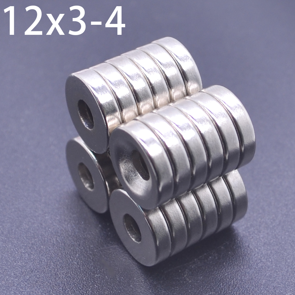 10/20/50 Pcs Neodymium Magnet 12mm X 3mm Hole 4mm N35NdFeB Round Super Powerful Strong Permanent Magnetic Imanes Disc 12x3Hole 4