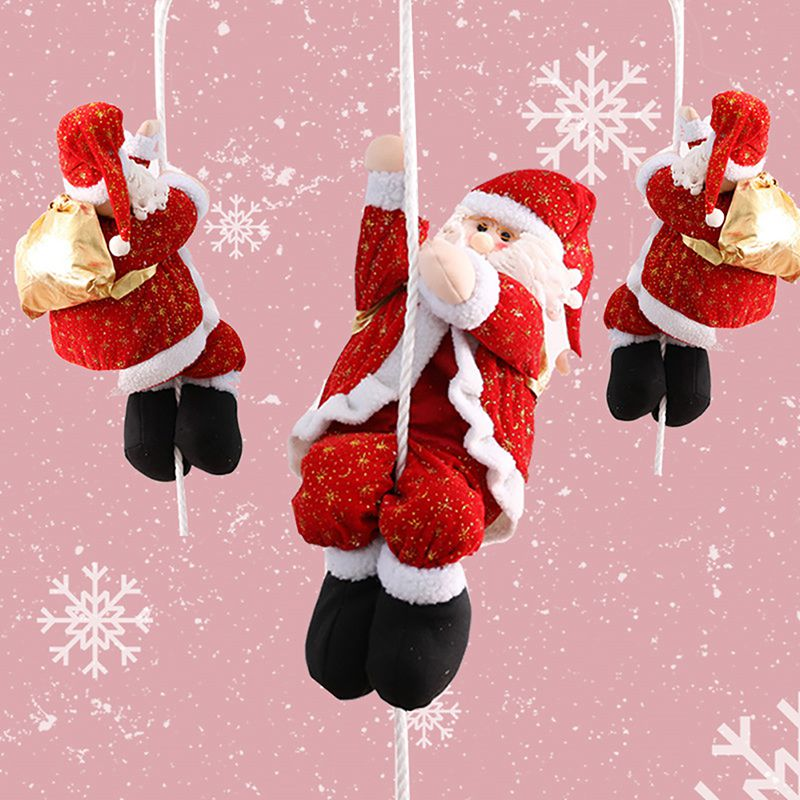 22-66cm Christmas Decoration Santa Claus Climbing On Rope For Xmas Tree Indoor Outdoor Wall Window Hanging Xmas Ornament Decor