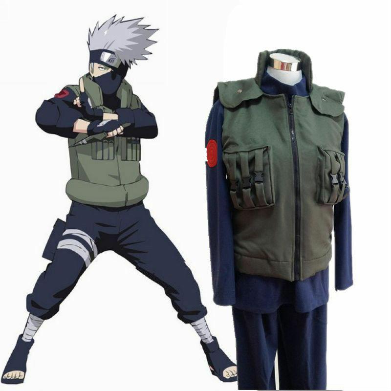 Cosplay Costumes Vest Shinobi Hatake Kakashi Anime Naruto Green Jacket Carnival Unisex