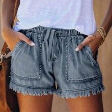 Womens bolso jeans calças de brim feminino borla atadura inferior shorts casuais verão homewear senhoras calças curtas