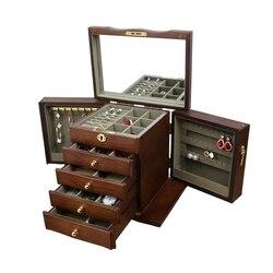 Schmuck Box mit Sperren Echt Holz Prinzessin Europäischen Retro Multifunktionale Sammlung Box Hochzeit Geschenk Box Lagerung Box Organizer
