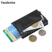 Men Wallet Credit Card Holder mini Aluminum Box Card Wallet RFID PU Leather Pop Up Card Case Magnet Carbon Fiber Coin Purse(China)
