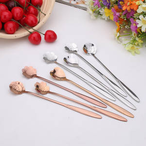 4Pcs Set Stainless Steel Lovers Cherry Blossoms Measuring Spoons Tea Coffee Milk Spoon Eco Friendly Package Without Box Western