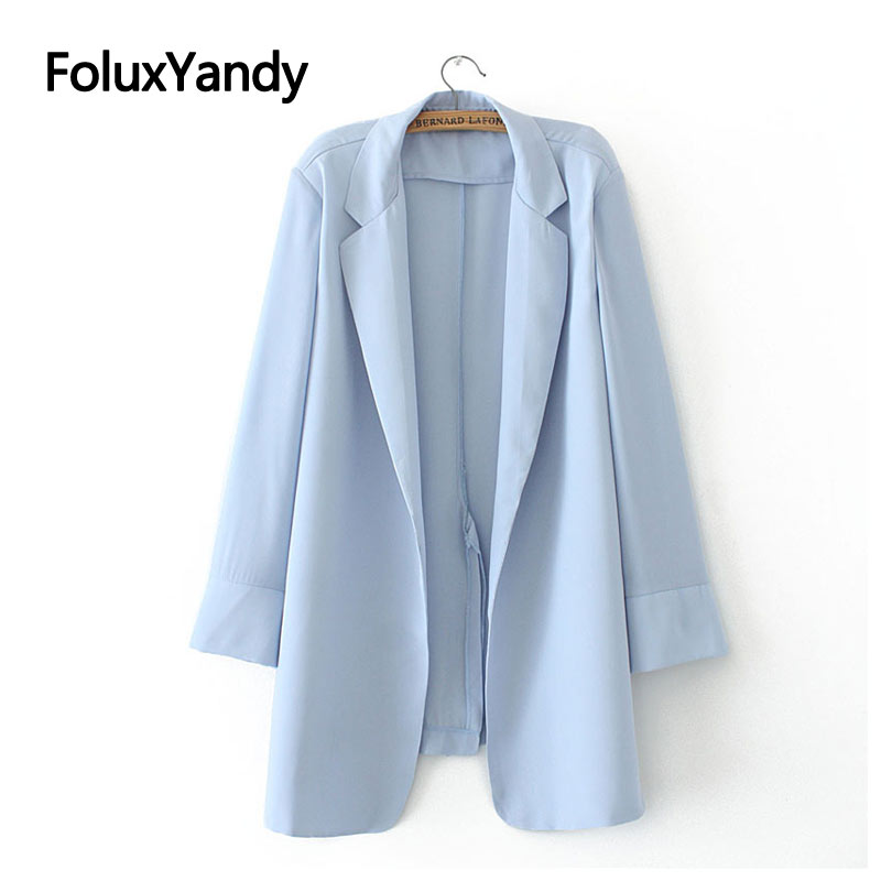 New Spring Blazers Women Chiffon Coats Office Lady Loose Plus Size Blazers Sky Blue Black XXXL 4XL KKFY4369
