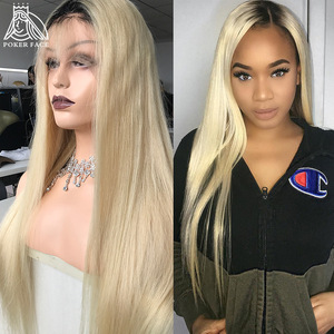 Poker Face Transparent 613 Blonde Lace Front Wig Brazilian Preplucked Dyed Color Straight Remy Huamn Hair Lace Wigs