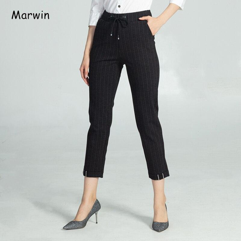Marwin, зимние плотные штаны с манжетами, в тонкую полоску, Теплые Мягкие штаны для отдыха, брюки с высокой талией, Новые повседневные эластичны...