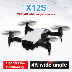 new X12S Foldable Drone with 4K Camera HD HD 4 Axis Optical Flow WiFi FPV Drone RC Plane Altitude Hold RC Helicopter