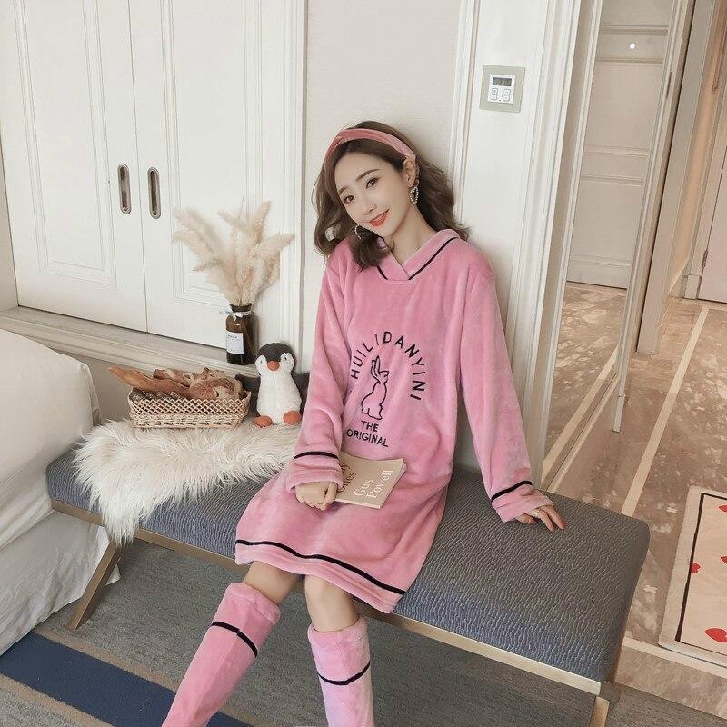 Winter New Style Woman's Knee-length Night Dress+ Socks  Velvet Nightdress Comfortable Cute Nightgown Sleepwear
