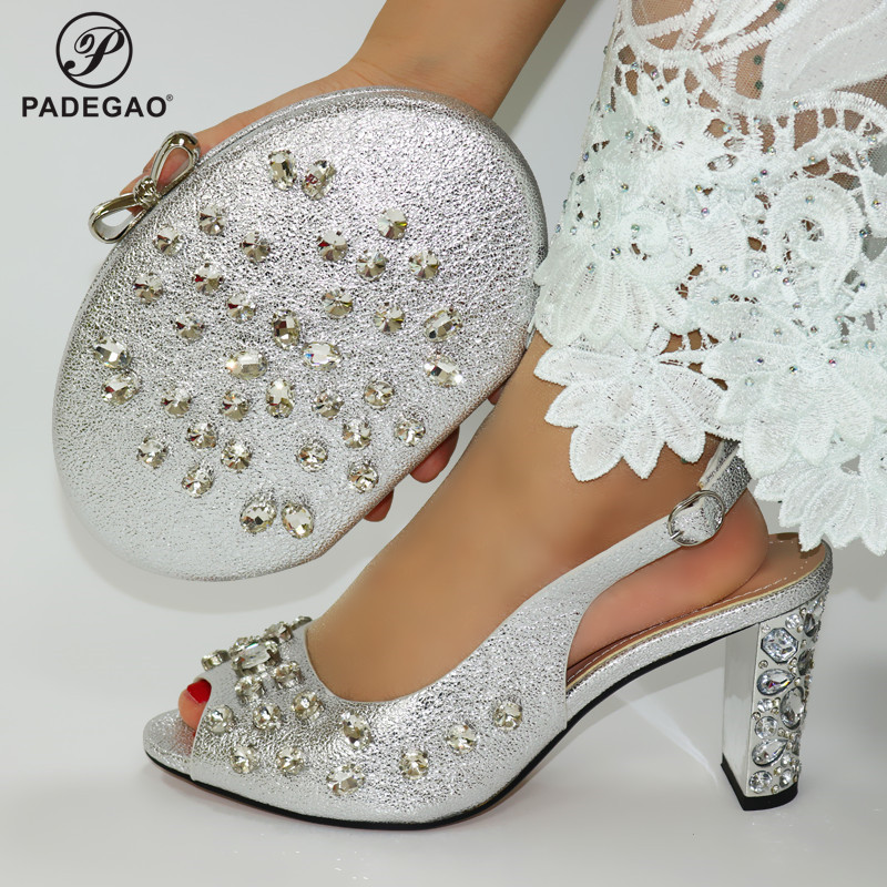 Silver Latest Comfortable Shoes and Bags Set African Sets 2020 Italian Shoes and Matching Bags Women Rhinestone Wedding Shoes