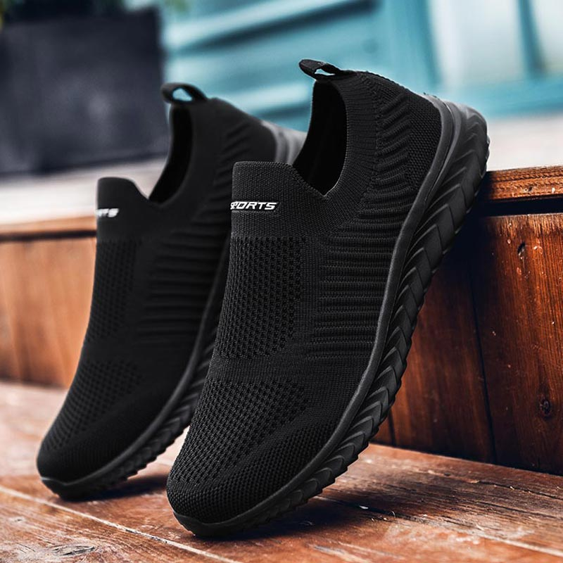 Plus Size Breath Slip-ons Men's Summer Sports Shoes Women Socks Sneakers Sport Shoes Running Designer Shoes Men Boty Black A-424