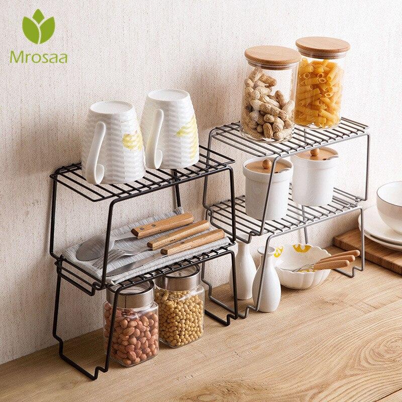 Kitchen Storage Rack Metal Cupboard Storage Shelf Non-Skid Spice Rack Multilayer Superposition Organizer Bathroom Saving Space