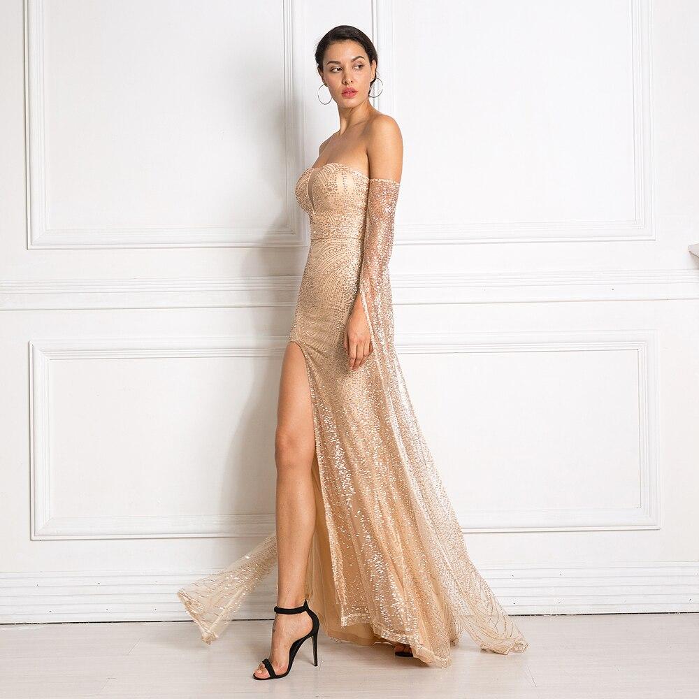 Robe longue à paillettes dorées à encolure ronde et dos nu. robe élégante à paillettes - 2