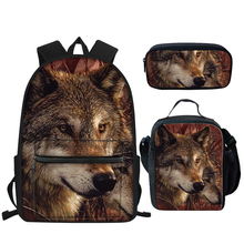 3шт% 2FSet школа рюкзак для мальчика круто 3D дикий животное принт карандаш сумка набор коричневый% 2Fblack волк книжные сумки полиэстер сумка