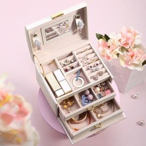 Image 3 - גדול תכשיטי אריזת קופסות ארון הלבשה חזה עם נועלים צמיד טבעת ארגונית נשיאת מקרים עם 2 מגירות 3 שכבות