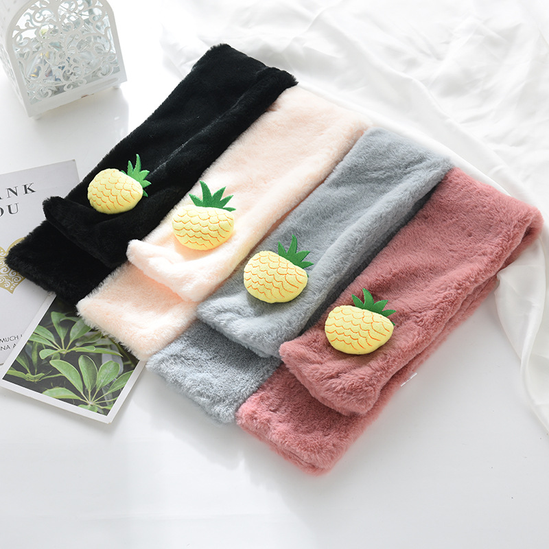Autumn And Winter New Style Men And Women Faux Rabbit Fur Scarf Women's Children Baby Plush Scarf Pineapple Warm Neck