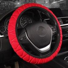 Estilo simples gelo seda volante do carro cobre macio respirável anti deslizamento adequado para 37-38cm vermelho acessórios do carro