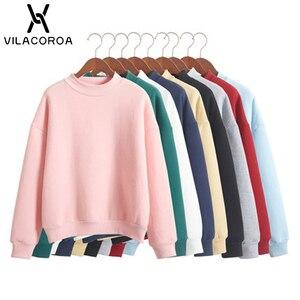 9 Colors Winter Grey Hoodie Round Neck Long Sleeve Velvet Warm Sweatshirts Women Korean Black Loose Hoodies Female Casual Coat