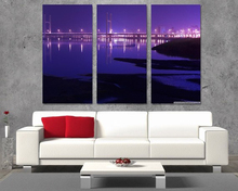 Modern Colorful Photo Picture bridge city revier Room Decor Cities Canvas Art Painting Living Bedroom
