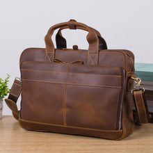 Father s Day Gift Retro Casual Genuine Leather Crazy Horse 15 Inch Crossbody Handbag Briefcases laptop