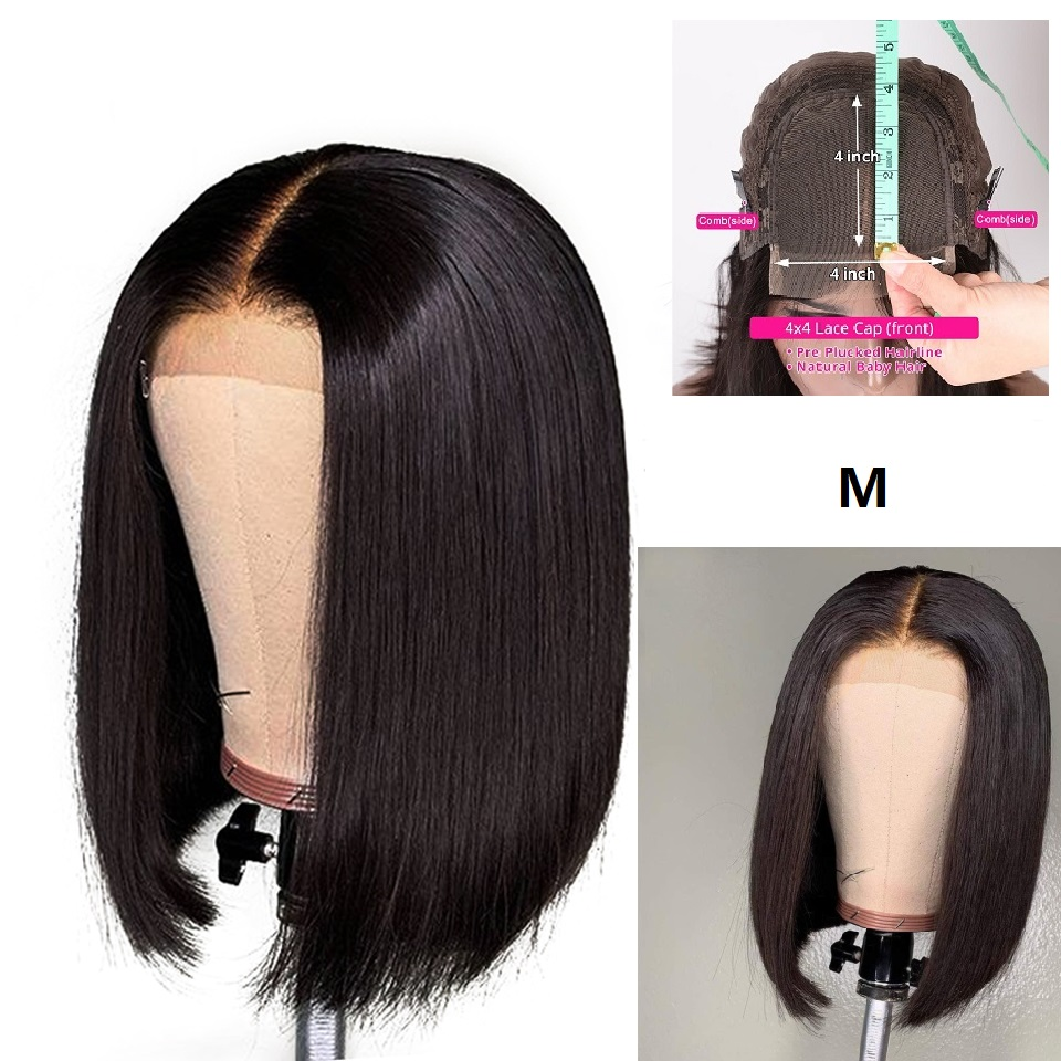 Haever 4x4 Brazilian Straight Lace Closure Wig Short Human Hair Wigs Bob 150% Remy Lace Wig Brazilian Human Hair Wig Closure Wig
