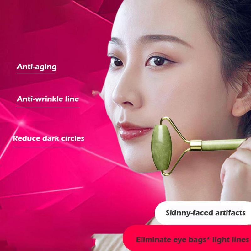 Купить с кэшбэком 1pc Facial Slim Massage Roller Double Heads Jade Face Lift Slimming Body Head Neck Massage Tools Nature Face Skin Care Tool