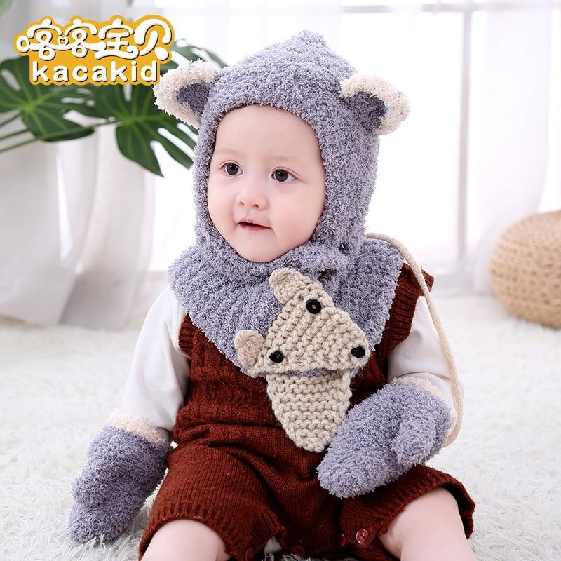 New Winter Beanie Baby Plush Fox Plush Hat Baby Scarf Gloves Warm Three-Piece Set Wholesale