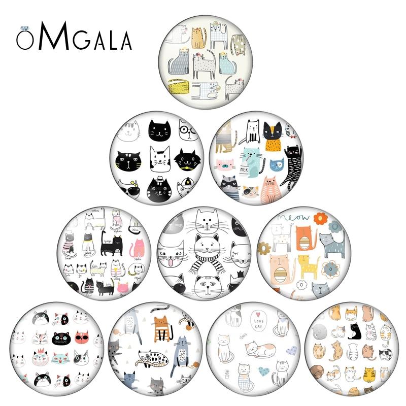 10pcs Cartoon Cat Animal Pattern 10/12/14/16/18/20/25mm Handmade Photo Glass Cabochons Pattern Domed Jewelry Making Accessories