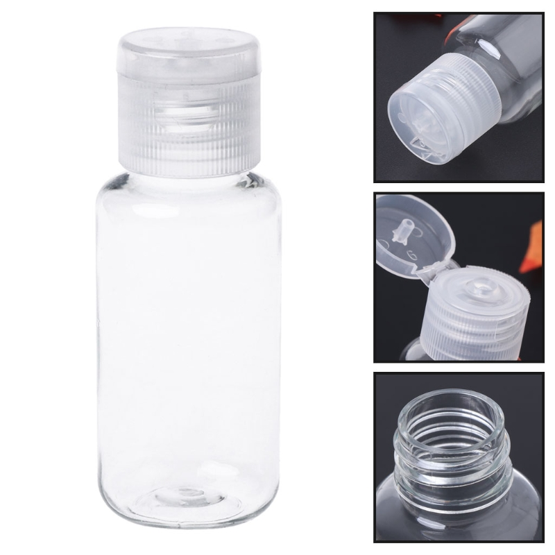 40ml Clear Empty Plastic Sample Flip Cap Bottle Makeup Emollient Water Container Refillable Bottles X7YB