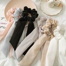 2 в 1 летняя винтажная Женская однотонная резинки для волос шарф бант твердая мягкая ткань конский хвост держатель