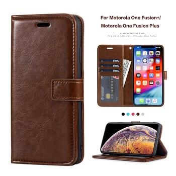 Funda de cuero de imitación para Motorola One Fusion + carcasa de marco de silicona para Motorola One Fusion Plus