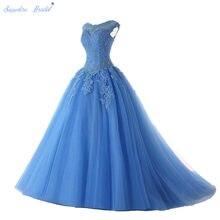 Safira nupcial vestidos de festa longos vestido de 15 anos de boné manga renda aberta volta lilás hortelã azul miçangas quinceanera vestido