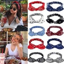 Women Sweet Hair Bands Print Headbands Retro Hair Accessories Girls Cross Turban Bandage Hair Bands Headwrap Summer Headwear