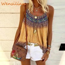 Boho Vintage Tank Top For Girls Summer 2020 Sphagetti Tops Strap Tees Sleeveless Tops For Women Camis Ropa Mujer Top Femme