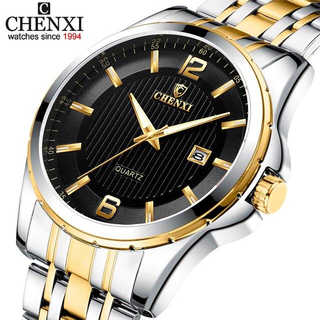 Chenxi Top Merk Luxe Horloges Mannen Quartz Analoog Militaire Mannelijke Gouden Horloges Mannen Polshorloge Waterdicht Relogio Masculino