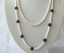 "RHJ00137 stunning long 50"" 7mm round white freshwater pearl amethyst necklace N Discount(China)"