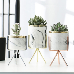 Скандинавская керамическая железная художественная ваза с мраморным узором, розовое золото, серебро, настольный зеленый цветочный горшок ...