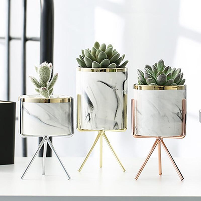 Скандинавская керамическая железная художественная ваза с мраморным узором, цвета розового золота, серебра, настольный цветочный горшок с зелеными растениями, декоративные вазы для домашнего офиса|Вазы|   | АлиЭкспресс - Для растений