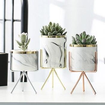 Vase de marbre en céramique or Rose argent | Vase de table en fer, motif de marbre, plante verte, Pot de fleur décoratif pour la maison, la bureau  Caddy en folie