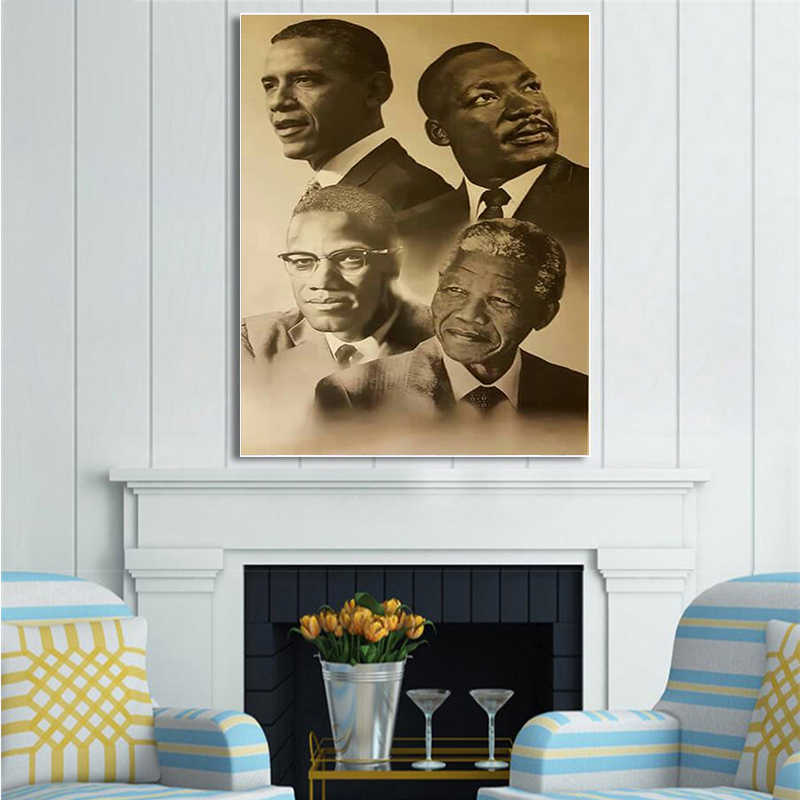 Canvas Print Home Decor Wall Art Modular Pictures Malcolm Martin Luther King Barack Obama Painting Nordic Poster For Bedroom
