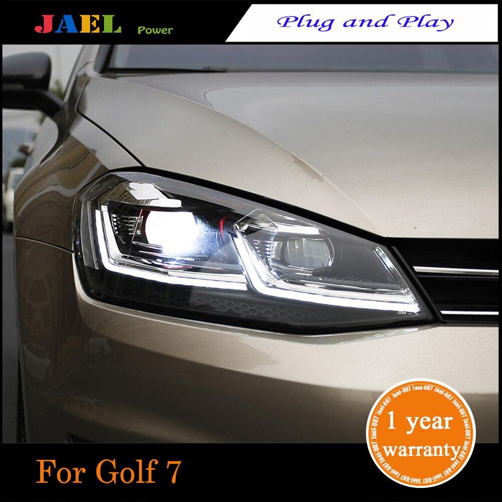JAEL LED Headlight For Golk7 Golf 7 MK7 Headlights LED DRL Running Lights Bi-Xenon Beam Lights Angel Eyes High Quality