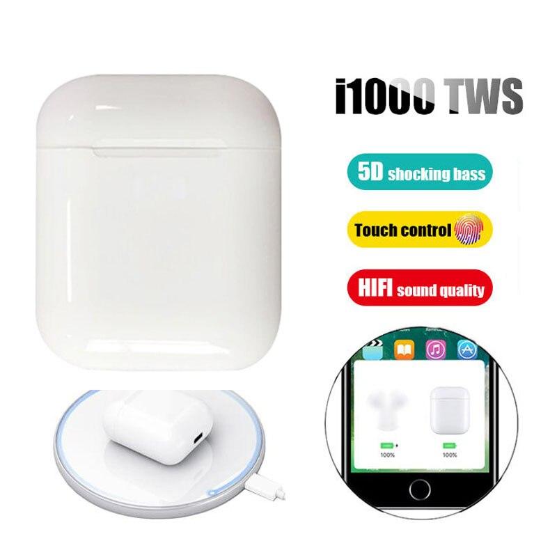 New I1000 TWS 2019 Pop Up Wireless Bluetooth 5.0 V5 Control Earphone Headset Earbuds Qi Stereo 6D Bass PK I3000 I2000 I 1000 TWS