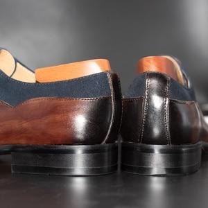 Image 5 - الرجال فستان أحذية جلدية مكتب الأعمال الزفاف اليدوية مختلط اللون البروغ الرسمي جولة تو أكسفورد أحذية رجالي