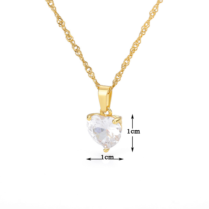 Heart Necklaces For Women Stainless Steel Gold Chain Zircon 6