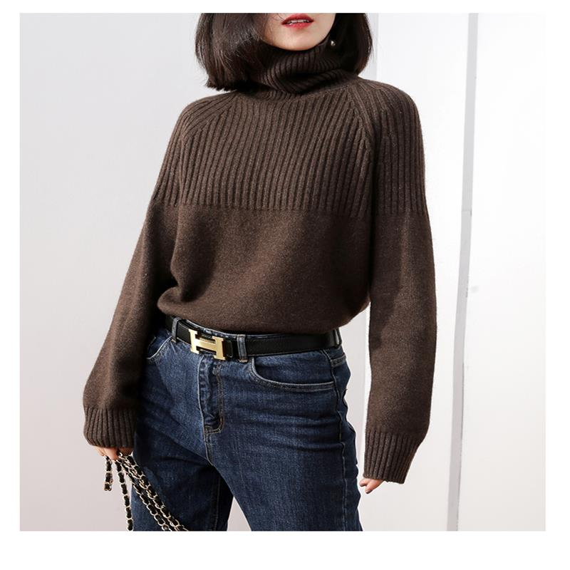 19 New Sweater Women Turtleneck Loose Sweater Pullover Women Striped Knitted Sweater Warm Cashmere Women Winter пуловер Clothes