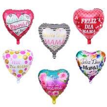 18 polegada 5 pçs espanhol dia das mães feliz dia mama eu amo você mãe forma do coração balões feliz dia das mães decorações presente