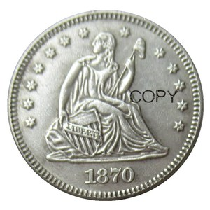 USA 1870 1870-CC Seated Liberty Quarter Dollars Different Mint Silver Plated 25 Cents Copy Coin(China)