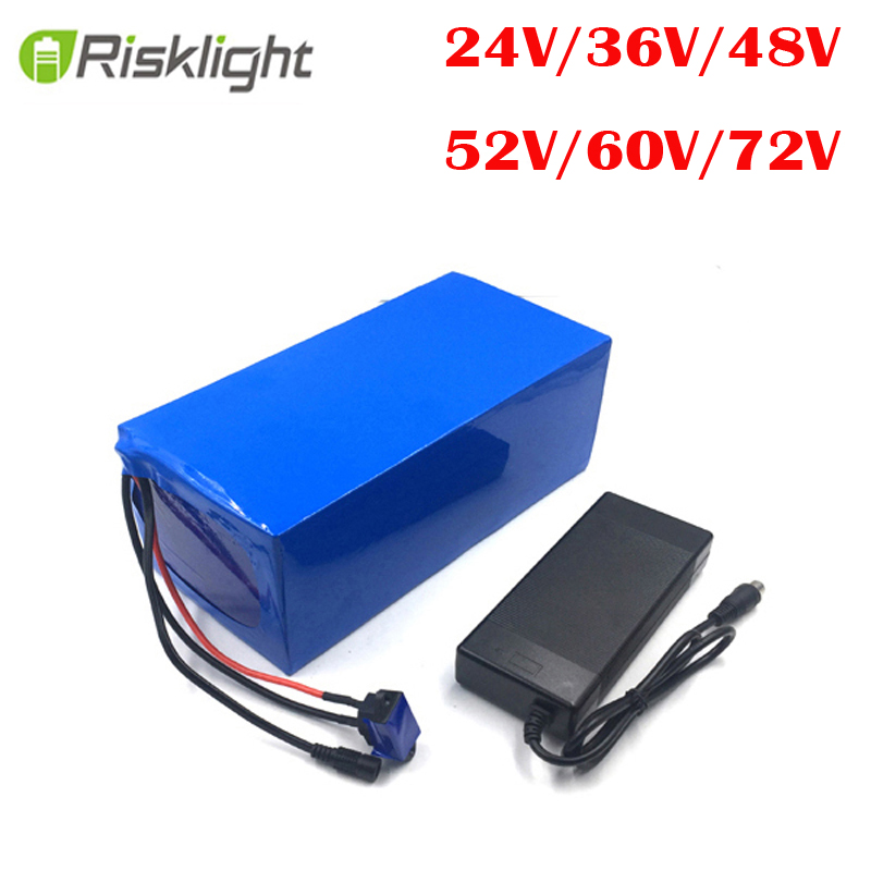 Aucune taxe personnalisée batterie li-ion 52v 24v 36v 48v 60v 72v 50AH 20AH 25AH 30AH 40AH lithium Ebike batterie avec chargeur
