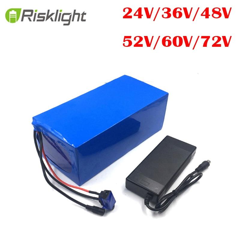 Aucune taxe personnalisée li-ion batterie 52v 24v 36v 48v 60v 72v 50AH 20AH 25AH 30AH 40AH lithium Ebike batterie avec chargeur