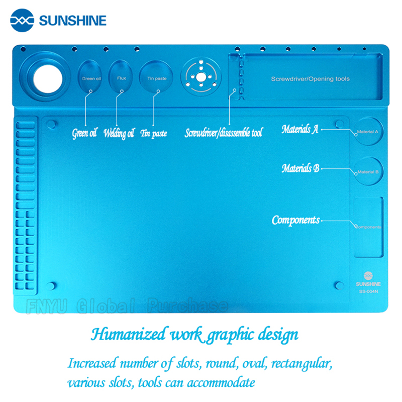 SUNSHINE SS-004N Aluminum Alloy Microscope Repair Pad  Compatible Variety Microscope Fixation Silicone Insulation Repair Pad