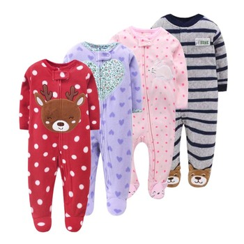 2021 Spring Baby Girl Clothes  Kids Soft Fleece Rompers Jumpsuits Pajamas 9-24m Infant Boys Costumes